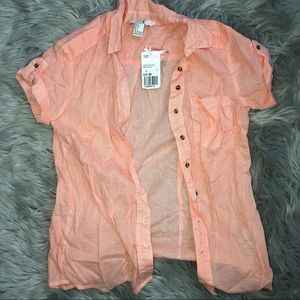 Short sleeve button down blouse